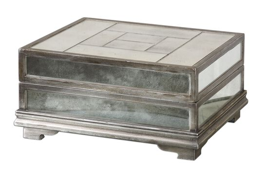 Mirrored Decorative Box in Antique Silver