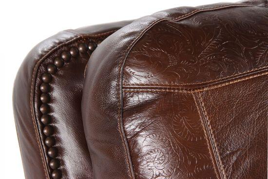 Paisley Imprinted Traditional Rocker Recliner in Dark Oak