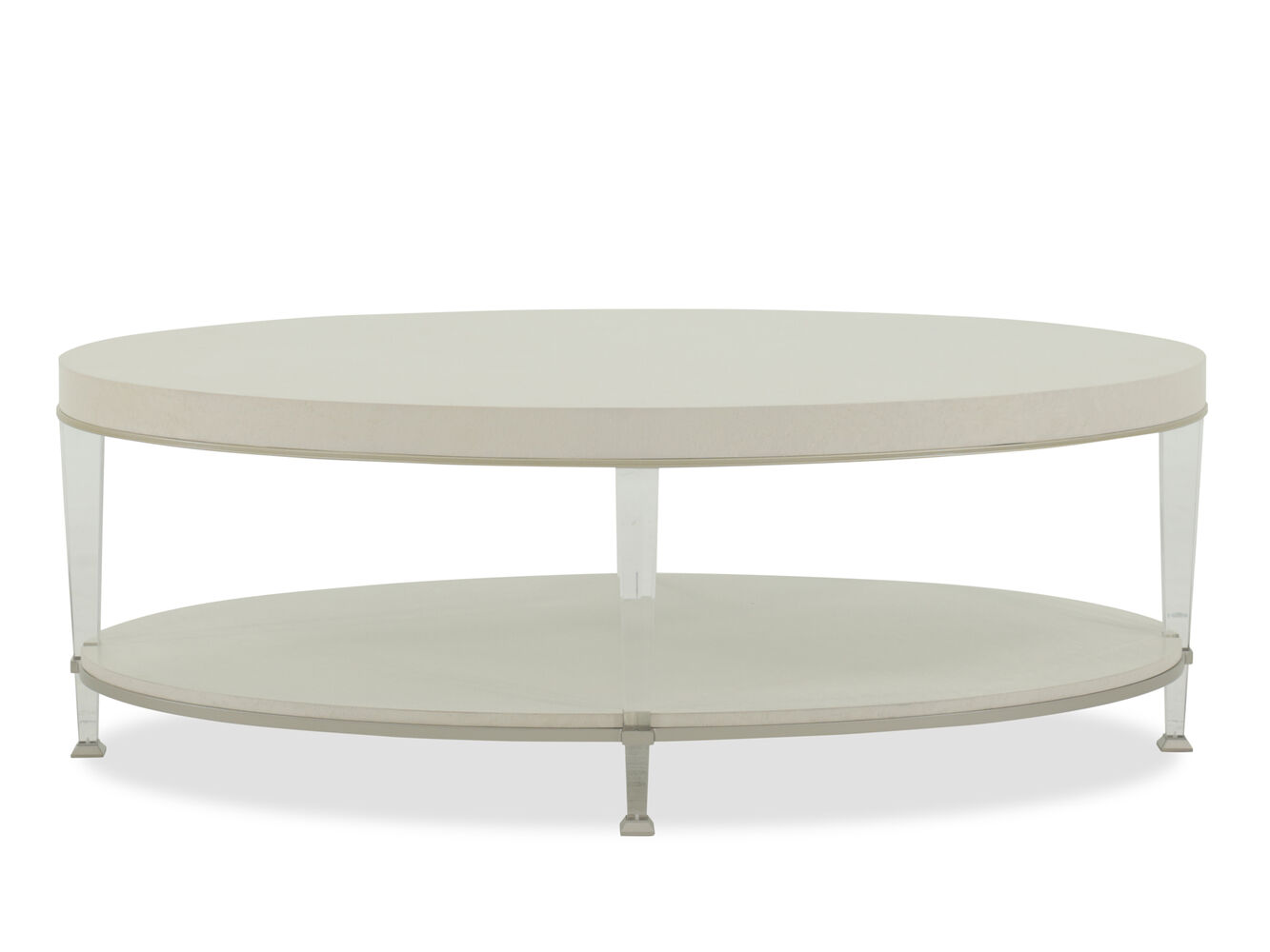 Oval Modern Cocktail Table In Sheer Ecru Mathis Brothers