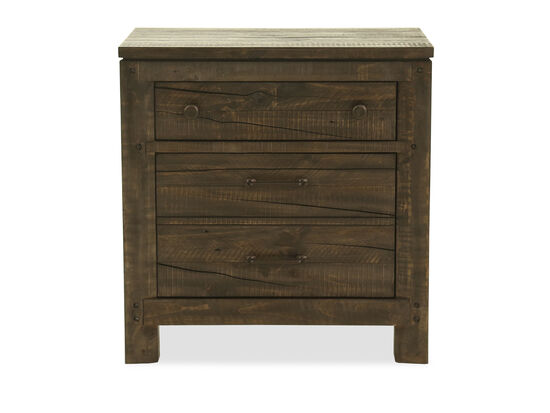 Two-Drawer Transitional Nightstand in Brown