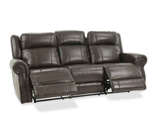 """Nailhead-Accented Leather 89"""" Power Reclining Sofa in Brown"""