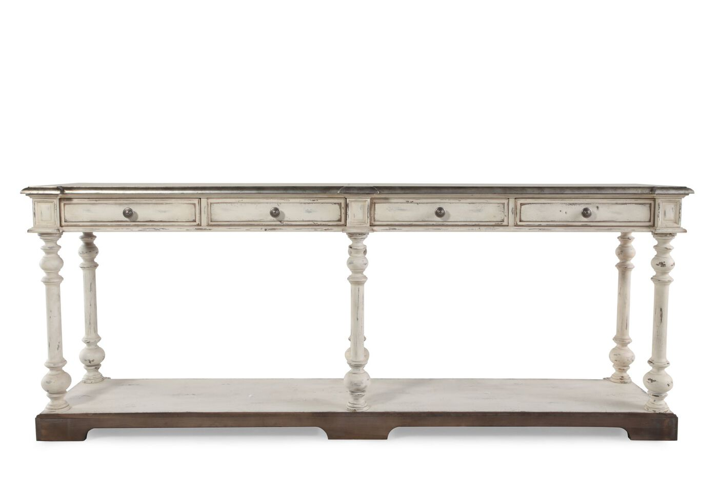 Four Drawer Transitional Hall Console Table In Light White  ~ Transitional Sofa Tables