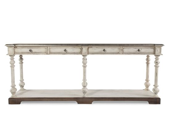 Four Drawer Transitional Hall Console Table in Light White