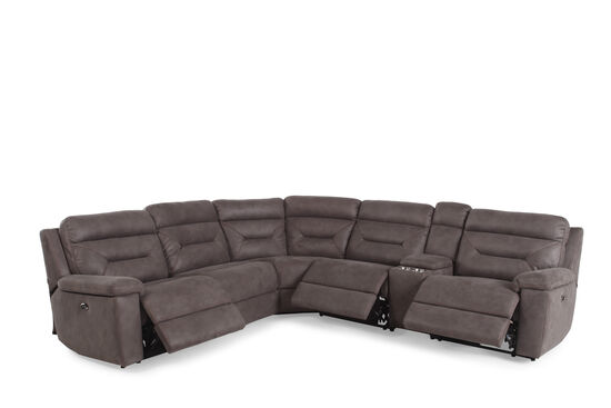 """Six-Piece Microfiber 168"""" Power Reclining Sectional in Gray"""