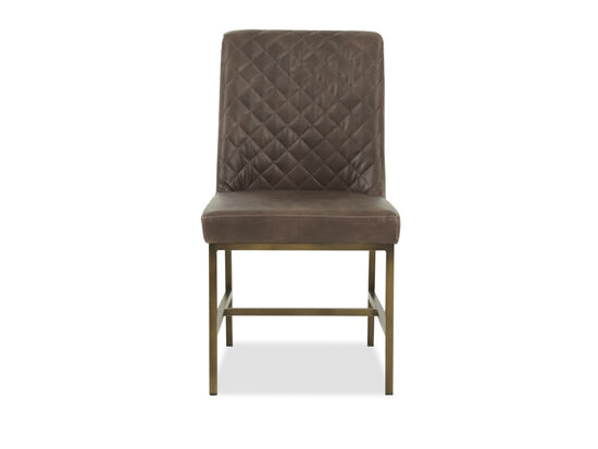 """Leather 20"""" Tufted Dining Chairin Brown"""