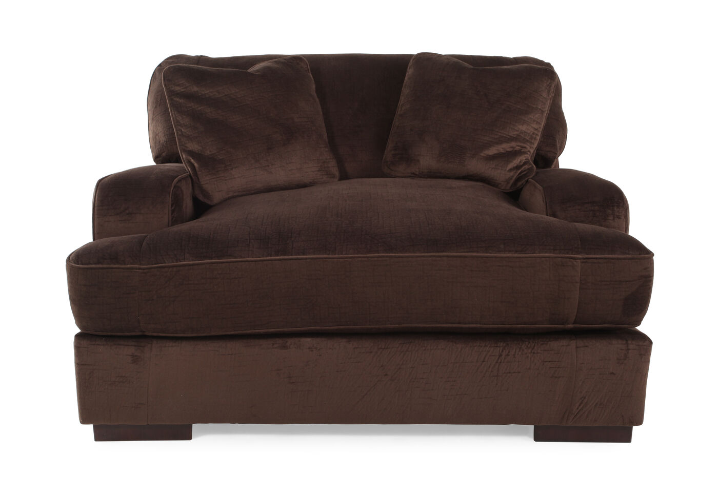 Living Room Chair And A Half. Textured Microfiber 57 quot  Chair and a Half in Dark Chocolate