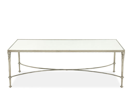 Rectangular Transitional Cocktail Table in Silver Leaf