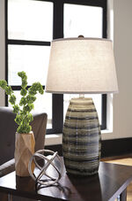Contemporary Glazed Ceramic Table Lamp in Brown