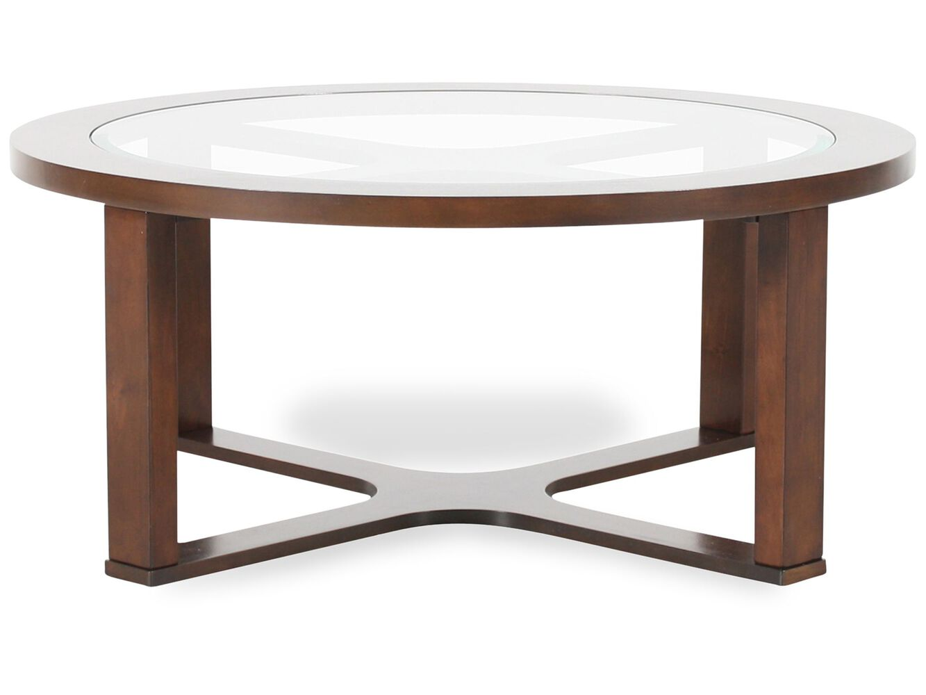 Round contemporary cocktail table in dark merlot mathis brothers round contemporary cocktail table geotapseo Image collections