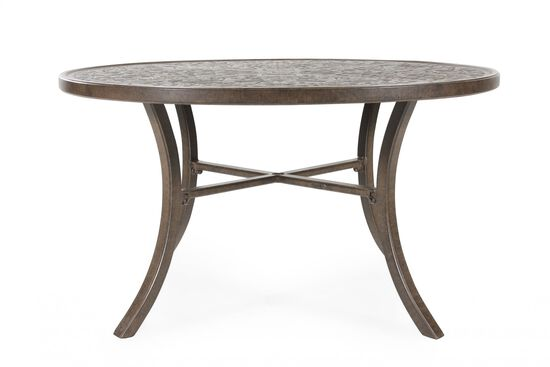 Round Aluminum Patio Dining Table in Dark Brown