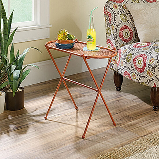 X-Braced Contemporary Accent Table in Terracotta