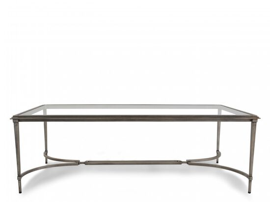 Glass-Top Contemporary Cocktail Tablein Silver