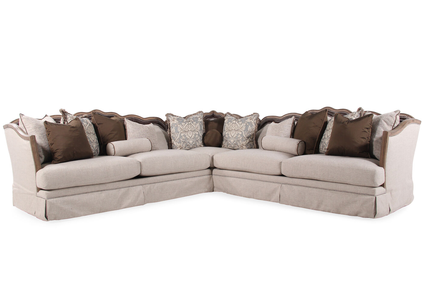 Images Three Piece Traditional 215 Sectional In Gray