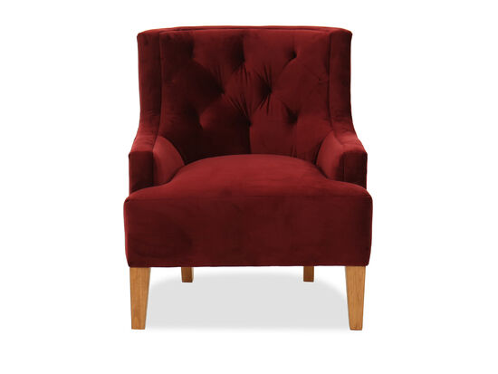 "30"" Tufted Transitional Accent Chair in Berry Red"
