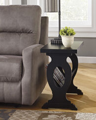 Contemporary End Table with Magazine Shelf in Black