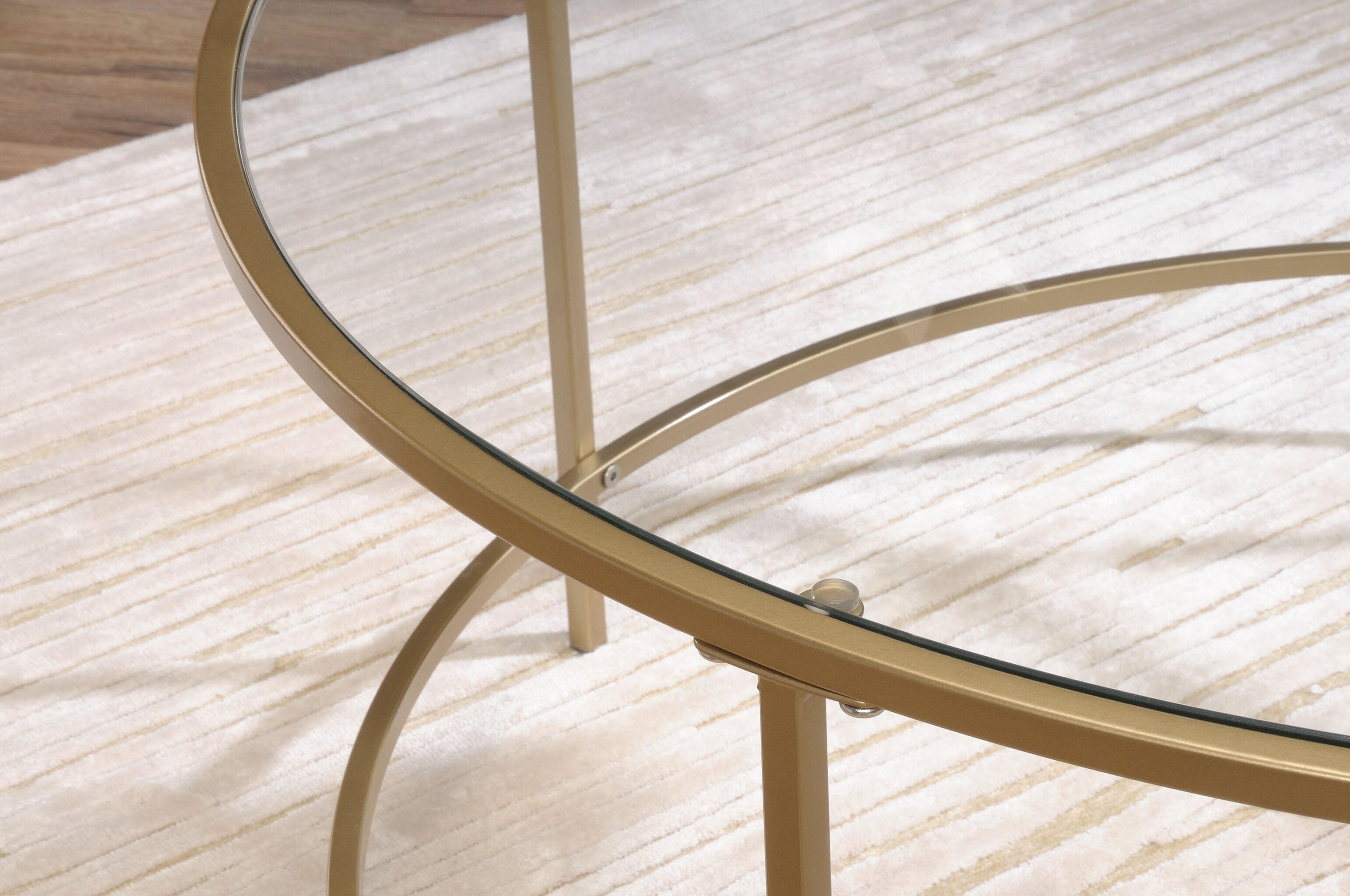 Round Glass Top Contemporary Coffee Tableu0026nbsp;in Satin Gold