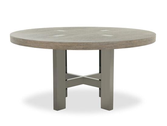 "Rustic Farmhouse 60"" Rubberwood Round Pedestal Table in Medium Brown"