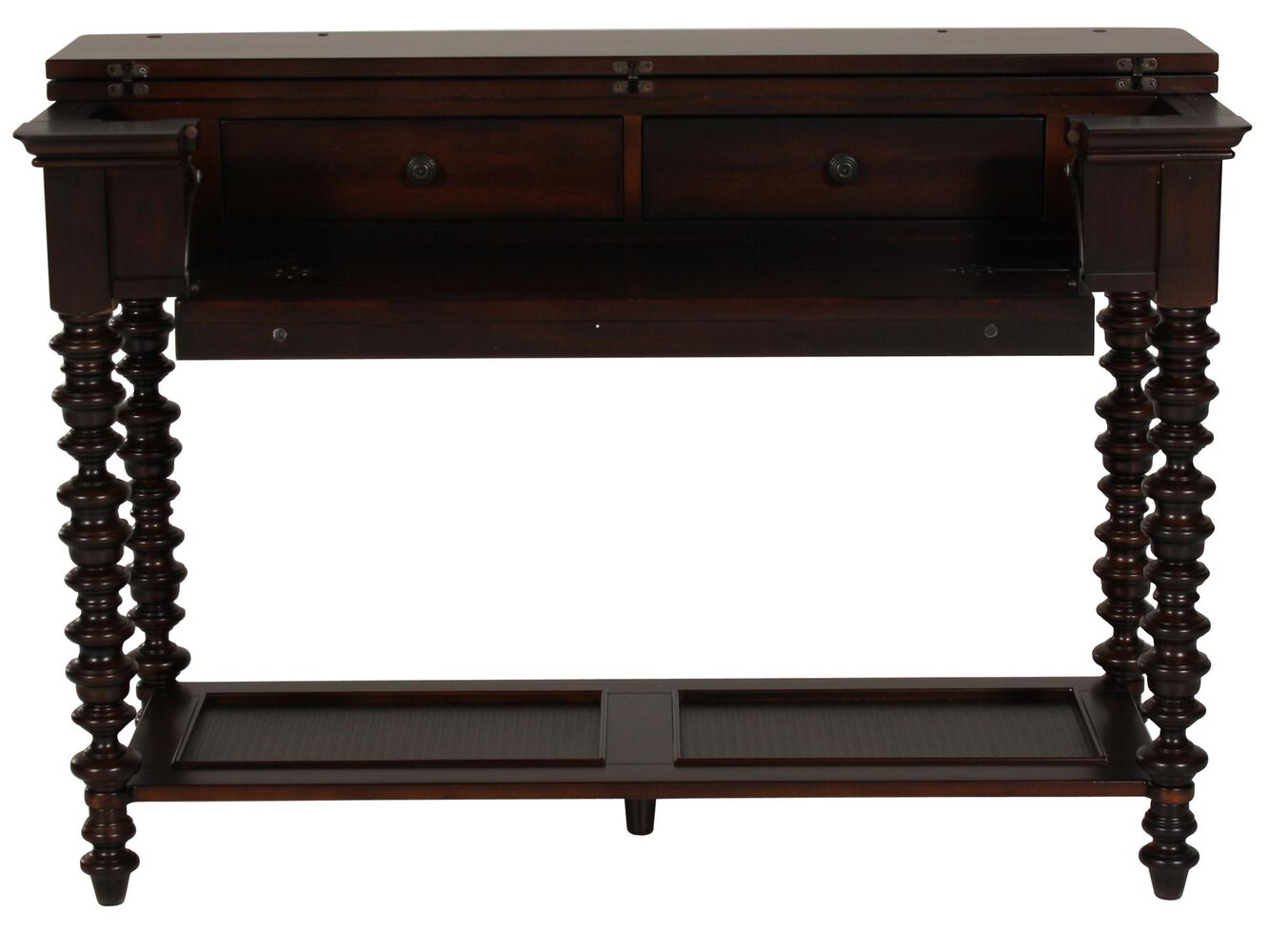 Spindle leg traditional console table in dark brown