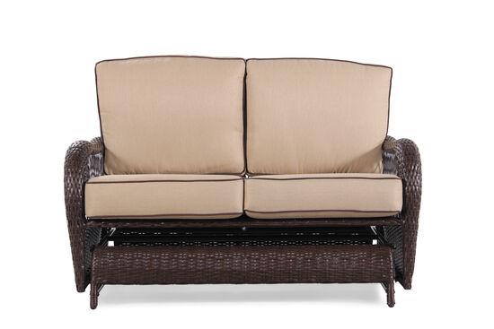 Weather-Resistant Casual Glider Love Seat in Beige