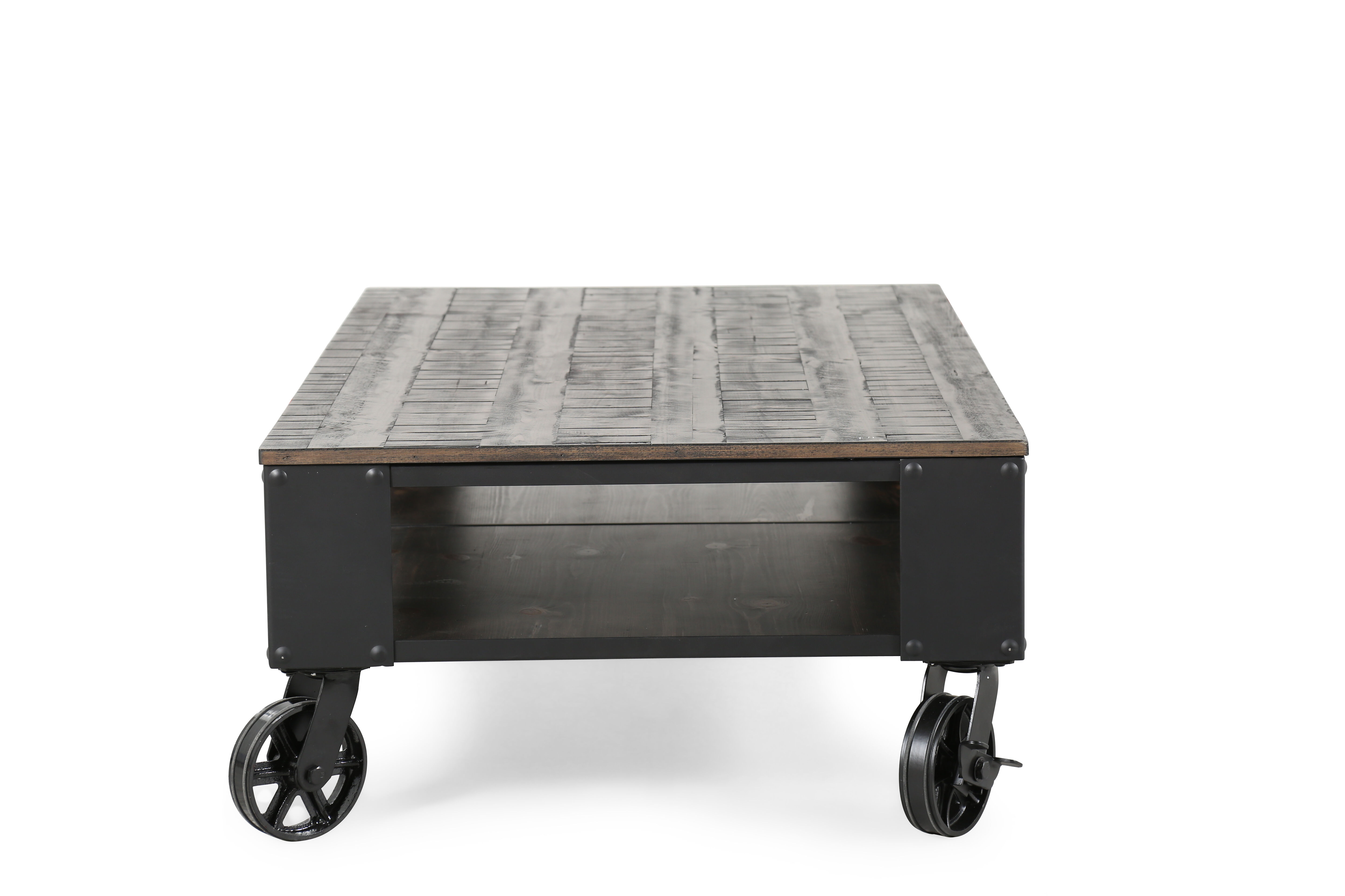 Rectangular Contemporary Wheeled Cocktail Table in Weathered
