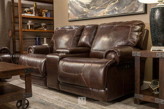 """Power Reclining Traditional Leather 79"""" Loveseat in Coffee"""