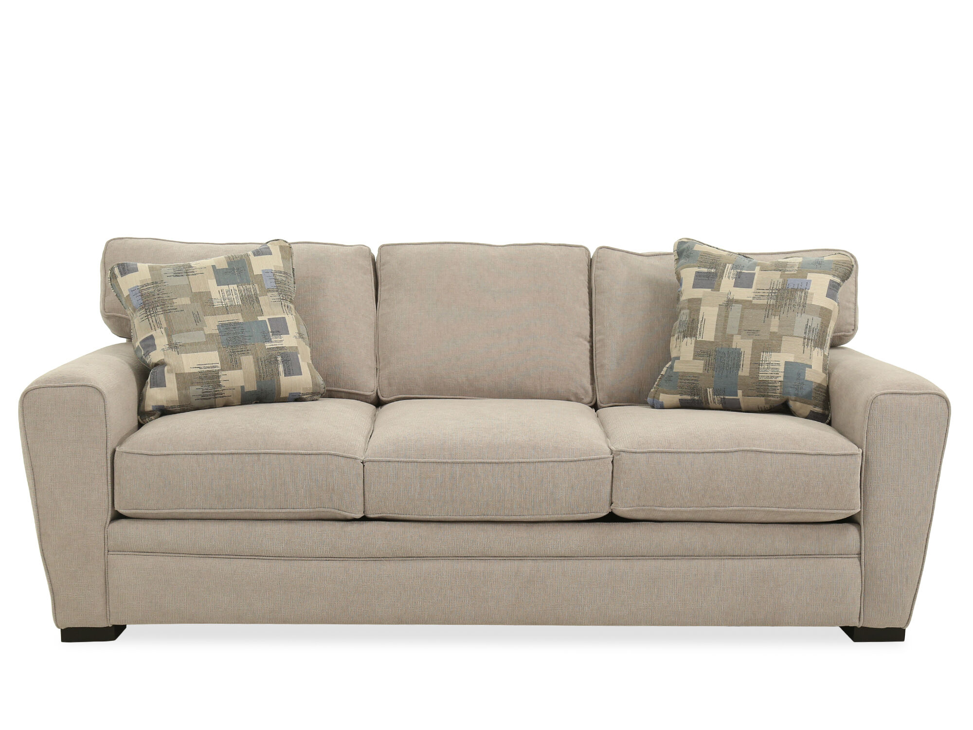 straight arm casual queen sleeper sofa in cream mathis brothers rh mathisbrothers com Queen Sleeper Sofa Sectional Sleeper Sofa