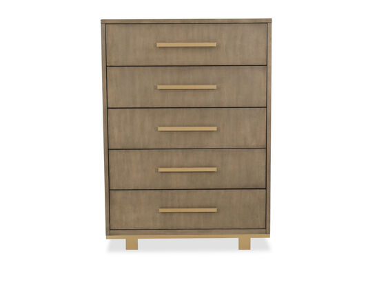 "Traditional 56"" Five-Drawer Chest in Dark Brown"