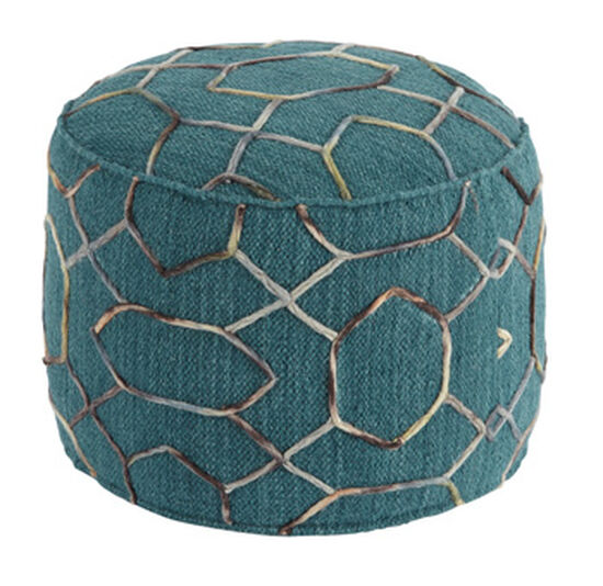 "Geometric Pattern Traditional 20"" Pouf in Green"