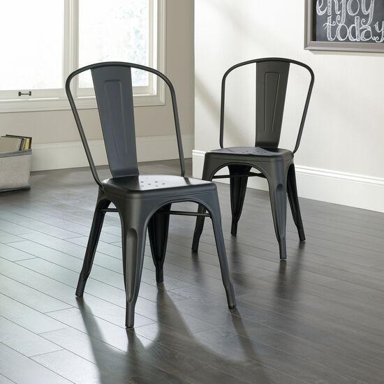 Two-Piece Contemporary 33.5'' Café Chair Set in Matte Black