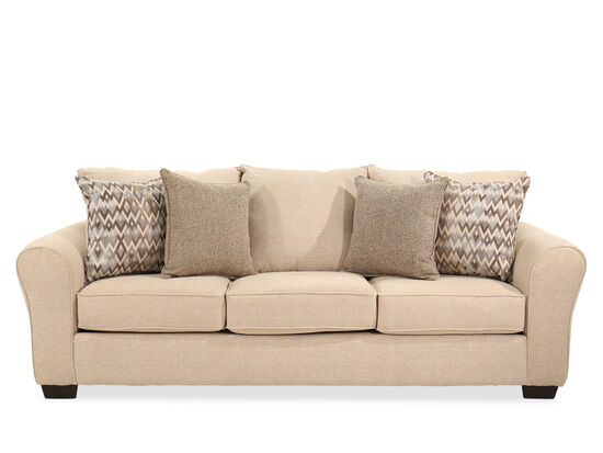 """95"""" Rolled Arm Traditional Sofa in Linen"""