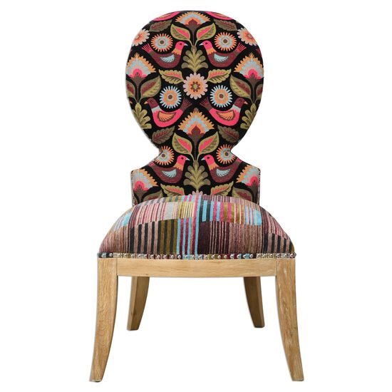 "Bird and Floral-Patterned 22"" Armless Chair"