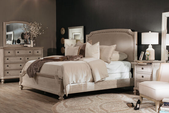 "61"" Nailhead Accented Casual Upholstered Bed in Parchment White"