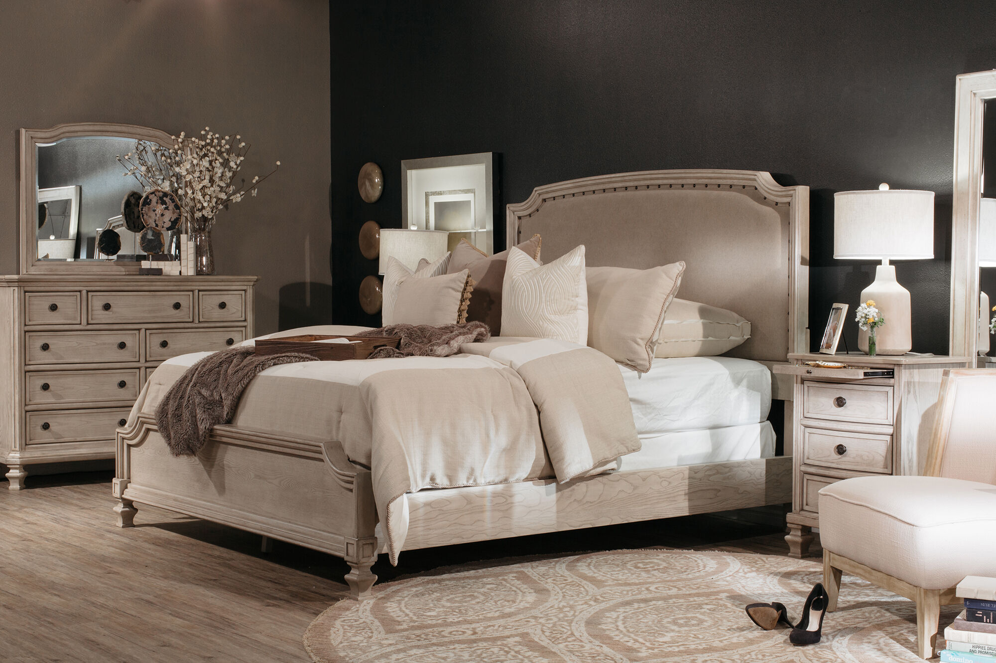 61u0026quot; Nailhead Accented Casual Upholstered Bed In Parchment White