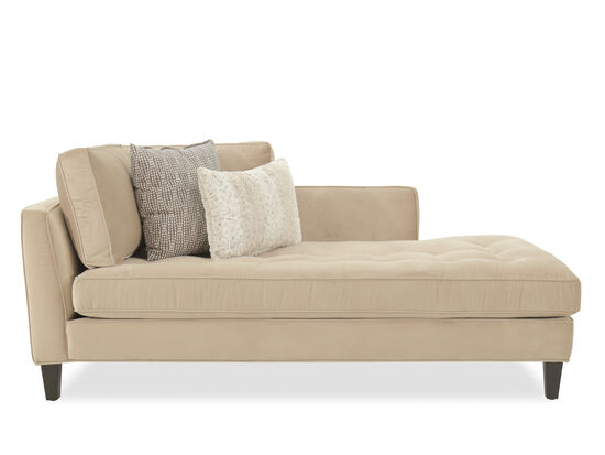 Button-Tufted Contemporary Left Arm Chaise in Beige