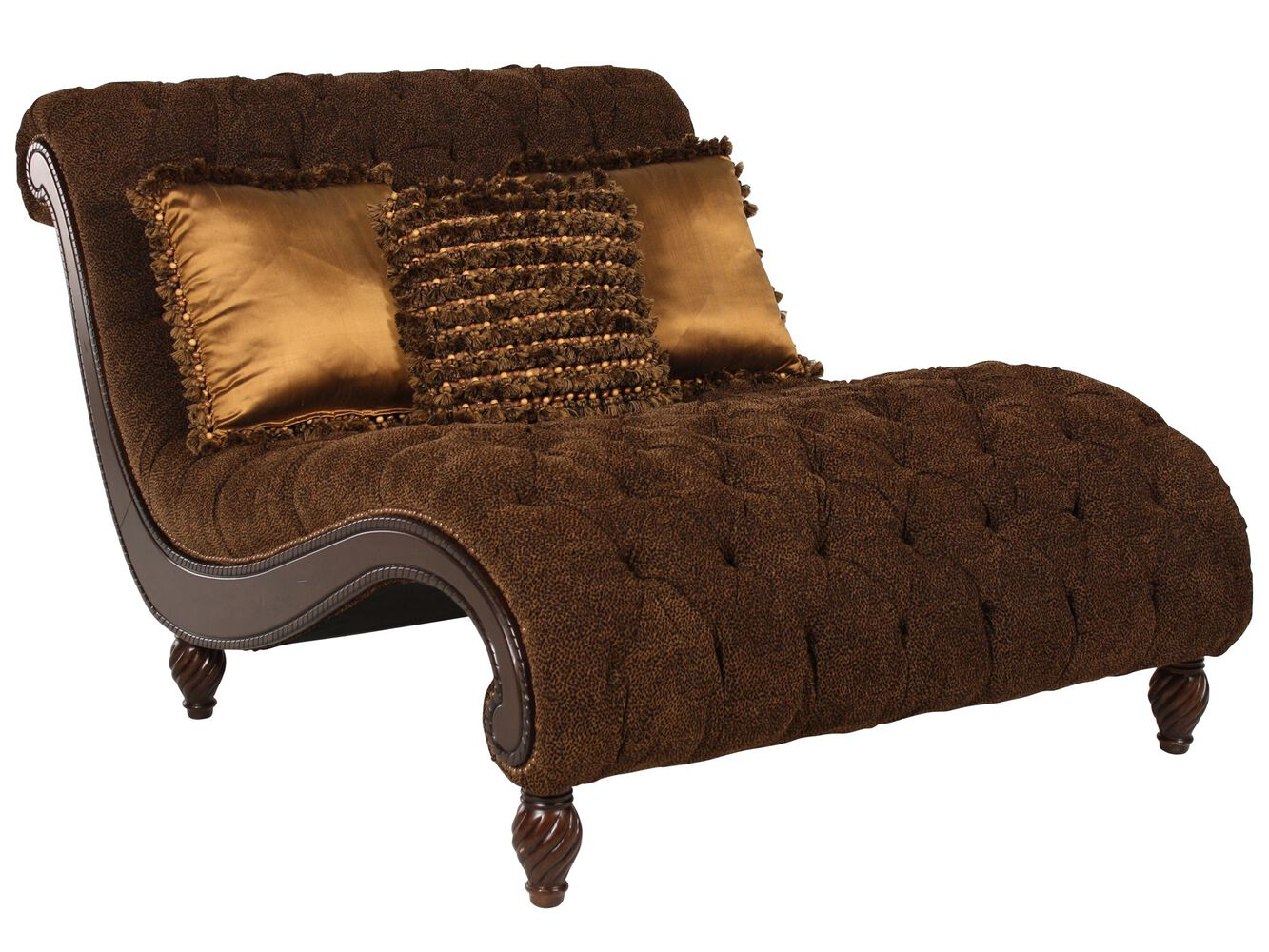 Animal print tufted traditional chaise in brown mathis for Animal print chaise