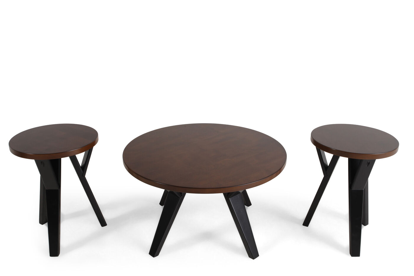 Three piece round contemporary table set in brown mathis brothers furniture for Round living room table sets