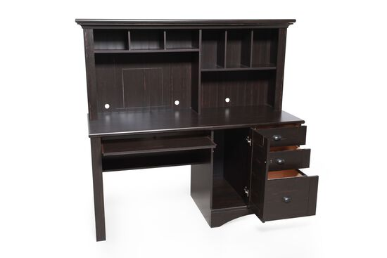"62"" Casual Computer Desk with Hutch in Antiqued Black"