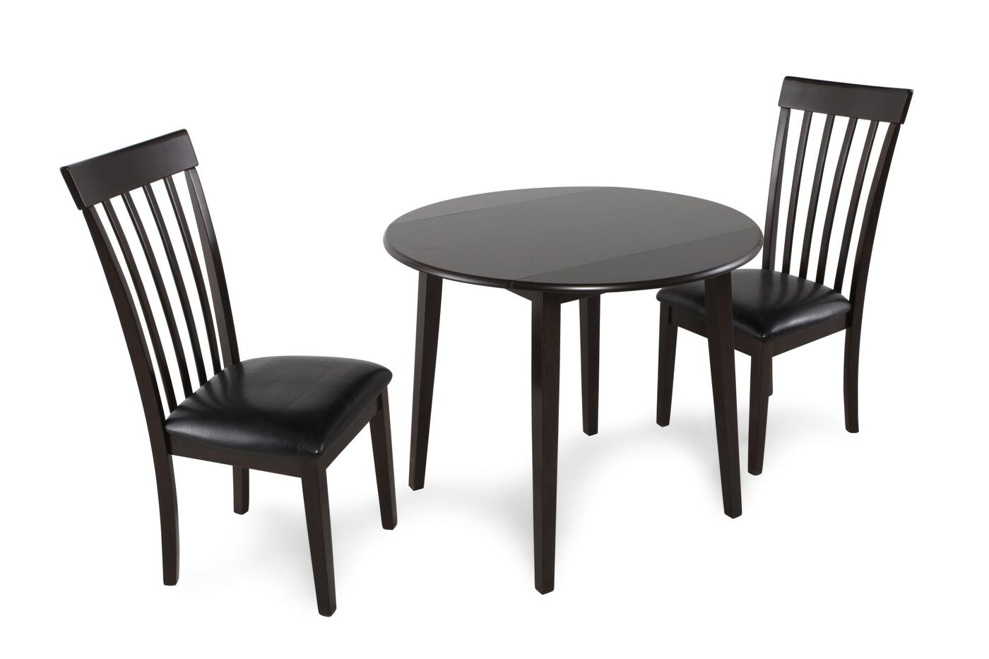 three piece contemporary leather round dining set in dark brown mathis brothers furniture. Black Bedroom Furniture Sets. Home Design Ideas