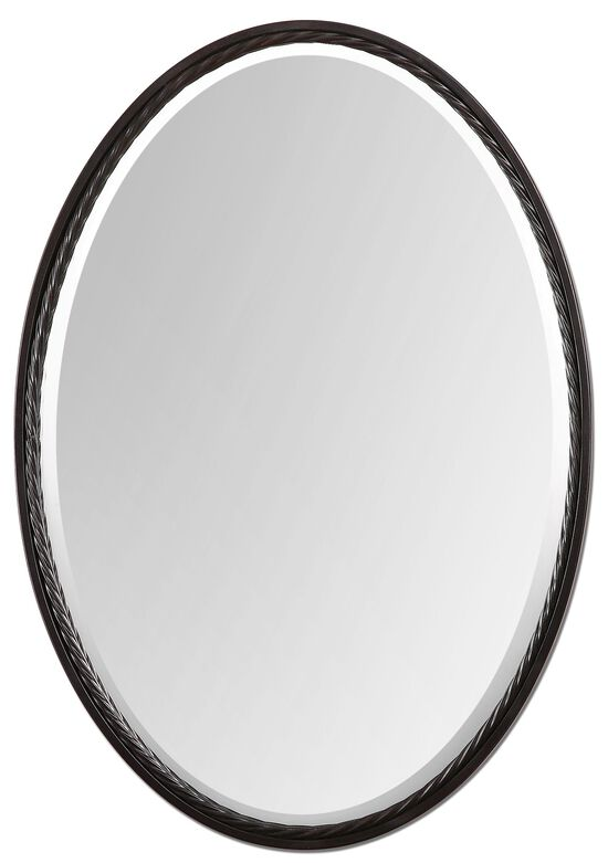 """32"""" Twisted Metal Rope Oval Mirrorin Oil Rubbed Bronze"""