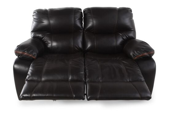 "Double Reclining Contemporary 64"" Loveseat in Dark Brown"