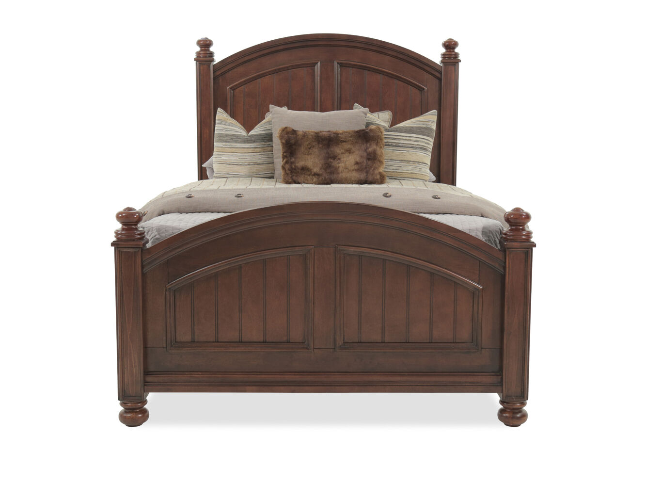 Casual Planked Arch Youth Panel Bed In Chocolate Mathis