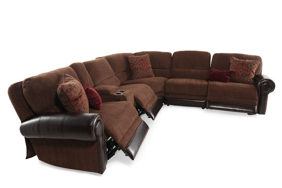 "Traditional 98"" Tapestry Patterned Power Reclining Sectional in Dark Russet"