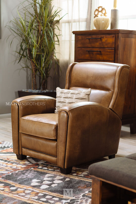"""Leather Nailhead Accented 34"""" Pressback Reclinerin Brown"""