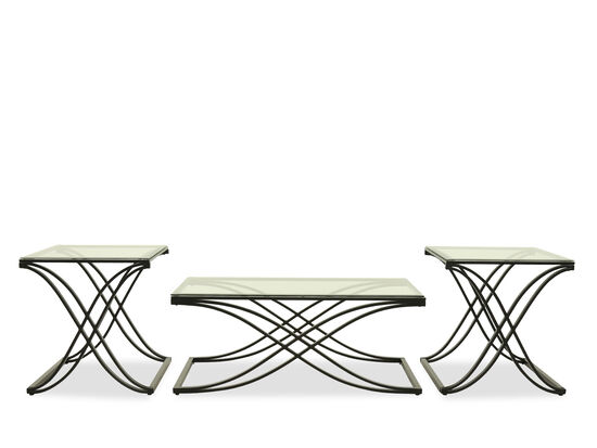 Glass-Top Contemporary Occasional Table Setin Black
