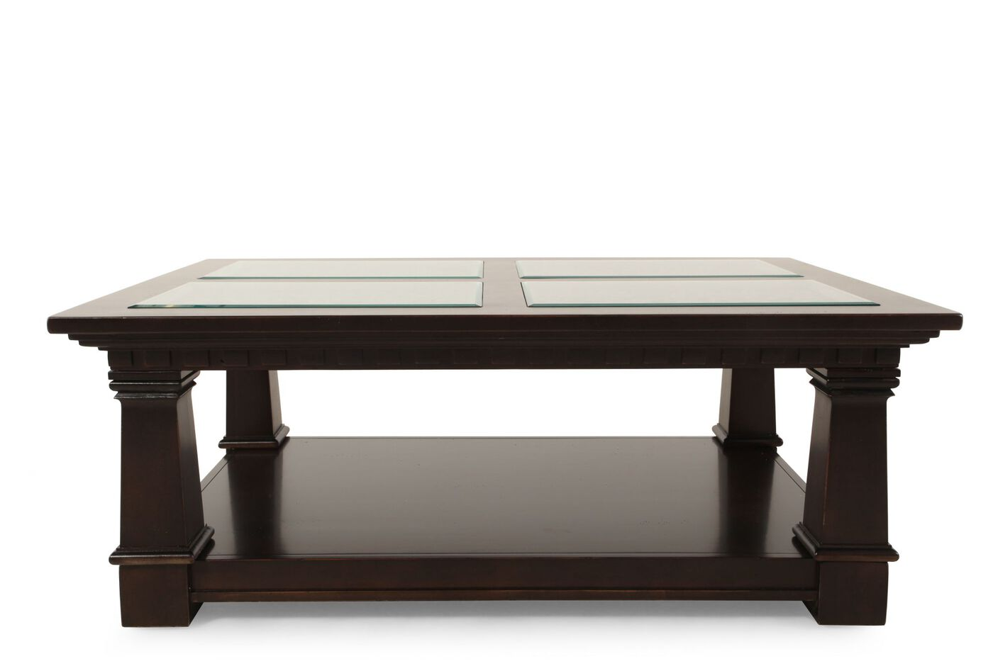 Glass Insert Traditional Cocktail Table In Brown Mathis Brothers Furniture
