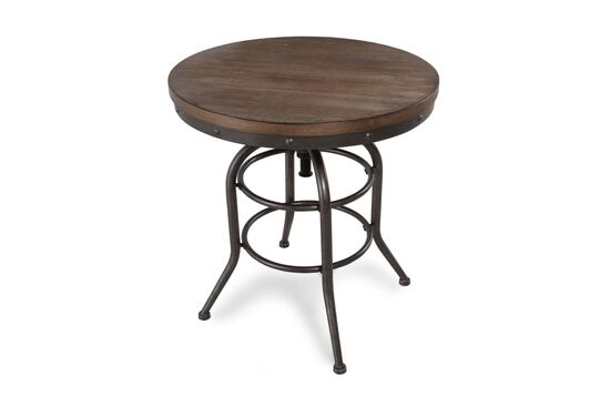 Small Round Rustic Side Tables: Distressed Round Rustic Farmhouse End Table In Blackened