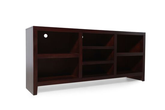 Seven-Open Compartment Transitional Console in Dark Cherry