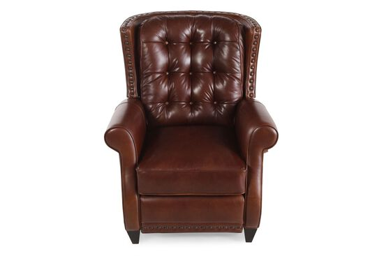 "Button-Tufted 33.5"" Leather Recliner in Saddle Brown"