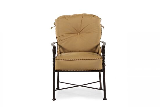 Button-Tufted Aluminum Dining Chair in Brown