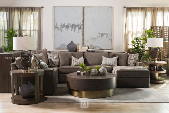 Microfiber Contemporary Three-Piece Sectional in Gray
